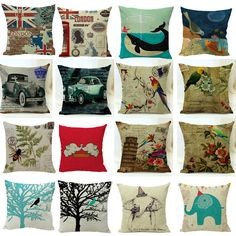 Hot! Vintage Cotton Linen Pillow Case Sofa Waist Throw Cushion Cover Home Decor