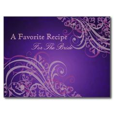 bridal shower recipes | Exquisite Baroque Pink Bridal Shower Recipe Card Postcard from Zazzle ...