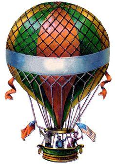 antique balloon clipart | Antique Graphic - Hot Air Balloon - Steampunk - The Graphics Fairy