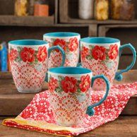 Shop for THE PIONEER WOMAN Drinkware in Dining & Entertaining. Buy products such as The Pioneer Woman Floral Bursts Footed Mugs, Set of 4 at Walmart and save. Pioneer Woman Dishes, Pioneer Woman Kitchen, Pioneer Woman Recipes, Pioneer Women, Kitchen Decor Themes, Kitchen Ideas, Kitchen Stuff, Teal Kitchen, 1950s Kitchen