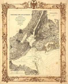 Manhattan, New York City environs and coast survey 1860. Reproduction Vintage Map. Varies sizes. Brooklyn, Queens, New Jersey Staten Island