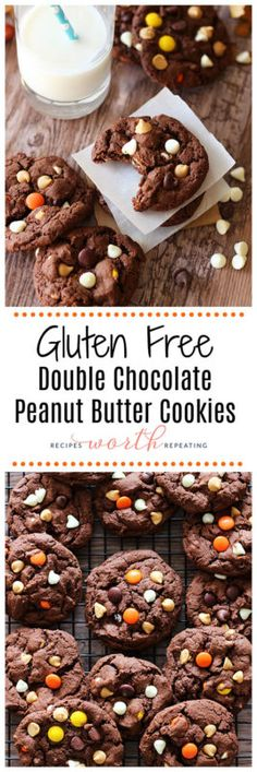 There's nothing better than a Double Chocolate Cookie with peanut butter and chocolate chips! Pour yourself a glass of cold milk and get ready indulge in these dark chocolate gluten free cookies that have a hint of peanut butter!