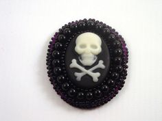 Black and Cream Skull and Crossbones Cameo Brooch  by Pookledo, £10.00