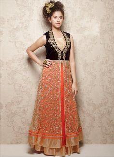 New Black & Orange Velvet With Soft Net Designer Gown