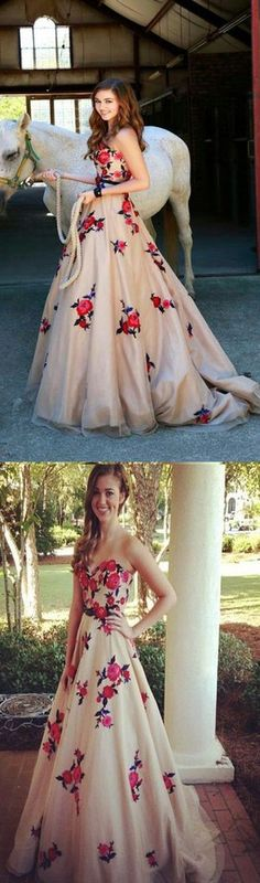 NEWEST SWEETHEART STRAPLESS VINTAGE FLORAL PRINTS APPLIQUES ELEGANT CHARMING LONG PARTY PROM DRESS.