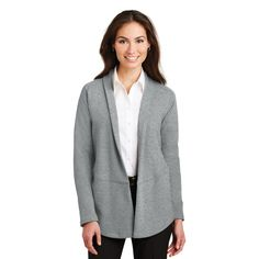 Port Authority (R) Ladies Interlock Cardigan | Blank | Designed for the modern professional, these double-knit styles have a striking dual-color look thanks to a unique fabric construction | Dress up or down | Exceptionally soft | Open front, shawl collar and raglan sleeves. Side seam pockets and front and back seaming detail | Callard | Promotional Products | Fall | Autumn | Warm | Cozy | Sweater Weather