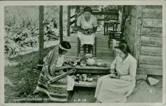 Cherokee women working on beadwork and pottery projects in Swain County, North Carolina - circa 1940