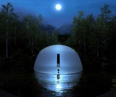 dl atelier mimics outdoor orchestra stage as full moon in china