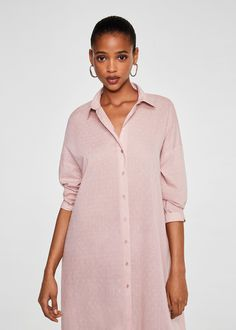 Long design Swiss cotton tulle design Cotton fabric Classic collar Button fastening on the front section Dropped shoulder seams Three quarter sleeve Couture, Cotton Fabric, Zara, Shirt Dress, Sleeves, Shirts, Shopping, Mango France, Tops