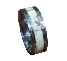 MADE AND SHIPPED IN 3-5 DAYS! Tungsten Deer Antler Wedding Ring with Hammered Edge - Best Seller - Color - Mixed White/Natural Grain