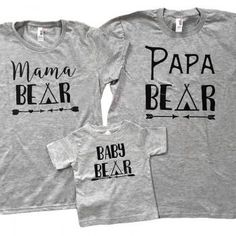 Bear Family Short-sleeve Grey Parents and Kids T-shirt