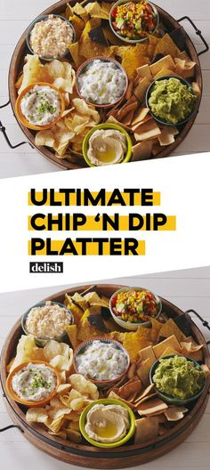 Chip & Dip Platter This Ultimate Chip & Dip Platter has something for EVERYONE at your party. Get the recipe at .This Ultimate Chip & Dip Platter has something for EVERYONE at your party. Get the recipe at . Snacks Für Party, Appetizers For Party, Food For Parties, Cold Party Food, Cold Appetizers, Easy Party Snacks, Party Nibbles, Cocktail Party Food, Sauce Pour Chips