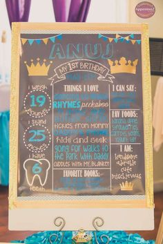Check out this chalkboard sign at a Little Prince birthday party! See more party ideas at CatchMyParty.com!
