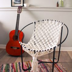 Make a macrame hammock chair using the frame of an old outdoor hoop chair. All you need is some rope and spray paint!