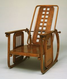 Sitzmaschine Chair with Adjustable Back (model 670). Josef Hoffmann (Austrian, 1870–1956). c. 1905. Bent beechwood and sycamore panels. It represents one of Hoffmann's earliest experiments in unifying a building and its furnishings as a total work of art.