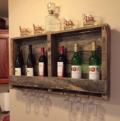 Rustic Wood Pallet Furniture Outdoor Furniture Reclaimed Wood Wine Rack Bottle Display Rustic Home Decor by BandVRusticDesigns on Etsy https://www.etsy.com/listing/238910524/rustic-wood-pallet-furniture-outdoor