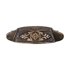 This antique brass finish cast brass cabinet/drawer cup pull with sherwood design is part of the Drawer Pulls Collection from Brass Elegans. Capturing the beauty of all things antique, this bin pull is perfect for restoration projects, vintage furniture, drawers & cabinets.