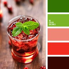 Fresh, juicy range of colors, like a breath of refreshing cocktail. Bright green colors blend harmoniously with the peach, scarlet and dark brown. This palette is applied to the interior of a country house, especially a child's room, living room, kitchen. Proper distribution of primary and secondary colors will create the original color composition.