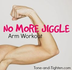 """Eliminate """"Arm Jiggle"""" forever with this awesome at-home workout! Only two dumbbells needed! #workout #fitness from Tone-and-Tighten.com"""