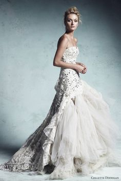 """Collette Dinnigan 2013 ~ """"Crystal Queen"""" dress with hand embroidered Swarovski crystals and layers of silk tulle."""