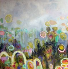 Annie Obrien Gonzales, Tulipmania #3, mixed media on panel, 48 x 48""