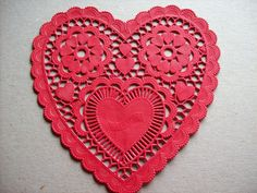 Red Heart Shape Paper Lace Doily on Etsy, $2.50