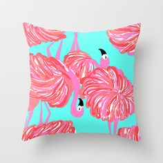 pink flamingo (Lilly Pulitzer style) Throw Pillow by uramarinka - $20.00 http://society6.com/uramarinka?promo=3161e0