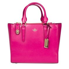 Coach Leather Handbag ($491) ❤ liked on Polyvore featuring bags, handbags, shoulder bags, pink, leather shoulder bag, pink leather handbags, pink shoulder bag, coach handbags and man bag