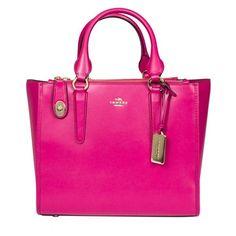 Coach Leather Handbag (635 CAD) ❤ liked on Polyvore featuring bags, handbags, shoulder bags, pink, man bag, leather shoulder handbags, leather shoulder bag, hand bags and handbag purse