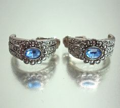 Faux Marcasite and Blue Rhinestone Earrings Vintage via Etsy