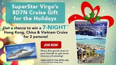 Win a 7-night cruise for 2, staying in an Oceanview Stateroom, on SuperStar Virgo! Make sure to send your entry by 21 February 2016!