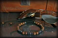 Bracelet tressé bois et pierre d'hématite Réf: BN-258 | Etsy Bracelets Fins, Wood Bracelet, Turquoise Bracelet, Jewelry Making, Etsy, Sliding Knot, Braided Bracelets, Colour Gray, Braid