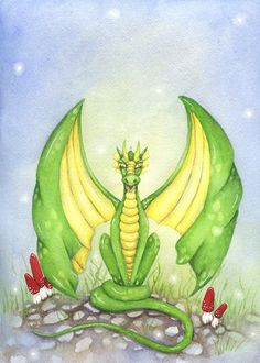 Fantasy Art Original Watercolor Painting - 9x12 - Happy Dragon - Whimsical, green, fun, children, fairy tale, storybook, illustration. $140.00, via Etsy.