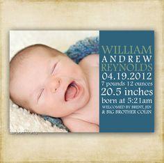 Modern Poster Style - Photo Birth Announcement - Boy or Girl - Printable DIY. $13.00, via Etsy.