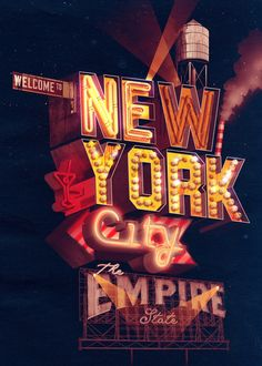 New York City - Neon Typography Illustration by ILOVEDUST