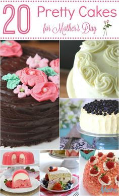 What Mom doesn't love a pretty cake for dessert? Take a look at these 20 Pretty Cakes for Mother's Day and treat your Mom with a special made cake! Delicious Cake Recipes, Fudge Recipes, Easy Cake Recipes, Cupcake Recipes, Yummy Cakes, Dessert Recipes, Candy Recipes, Drink Recipes, Homemade Desserts