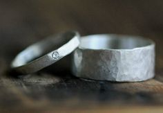 This listing includes 2 ring as a set. If you want different size diamond and/or width of the band, please, ask me for a custom ring set. :::::::::::::::::::::::::::::::::::::::: ✤DESCRIPTION: -Hammered rustic textured sterling silver band set -Hand stamped personal message, dates or