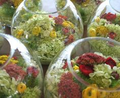 Green yellow red centerpieces