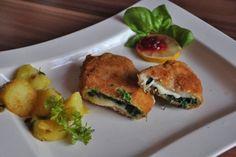 Hühnerschnitzel mit Spinat Mozzarella Fülle - Rezept