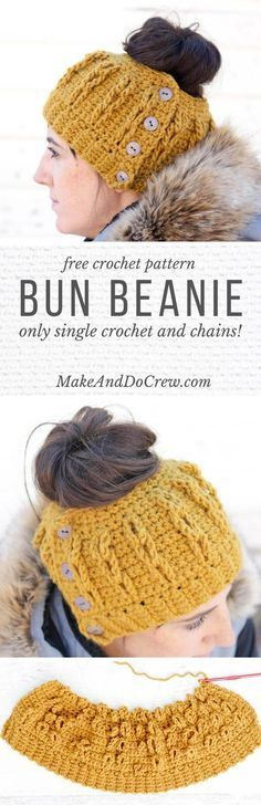 The cabled look of this free crochet bun beanie pattern is worked in only single crochet and chain stitches! kostenlose anleitung Crochet Bun Beanie with Faux Cables - Free Pattern and Video Tutorial! Diy Tricot Crochet, Tricot D'art, Crochet Adult Hat, Bonnet Crochet, Crochet Beanie, Crochet Scarves, Crochet Crafts, Crochet Stitches, Crochet Projects