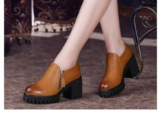 TNTRAV Wearable Sole Side Zip Ankle Chealsea Boot for Women   Upper Material: PU Leather Outsole Material: PU Heel Height: 2.8-7.8 cm Color: Black, red, brown Style: Side Zip Ankle Chealsea Boot for Women #omgnb