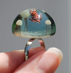 Seascape ring Tiny Sea Turtle and Jellyfish glass by jen4eternity, $100.00