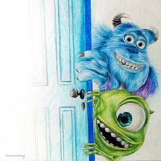 Disney Drawing Monsters Inc ▪ Vivian Wong ☆ - Easy Disney Drawings, Disney Sketches, Easy Drawings, Disney Doodles, Colored Pencil Artwork, Color Pencil Art, Disney Kunst, Arte Disney, Art Drawings Sketches