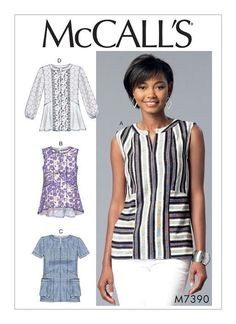 McCall's 7390 Misses' Split-Neck, Seam-Detail Tops sewing pattern
