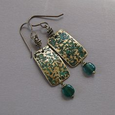 Verdigris Brass and Apatite Earrings by Pobbletoes on Etsy, $25.00