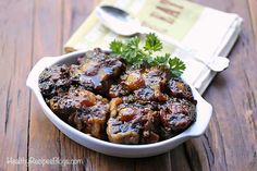 Rich and flavorful oxtail stew recipe is also very healthy. Enjoy it on a bed of mashed cauliflower for the perfect comfort food meal. Oxtail Stew Recipe Crock Pot, Oxtail Recipes Crockpot, Slow Cooker Stew Recipes, Healthy Slow Cooker, Healthy Meats, Meat Recipes For Dinner, Healthy Food Blogs, Healthy Crockpot Recipes, Kitchens