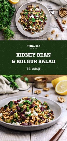 Gesunder & einfacher Kidneybohnen-Bulgur-Salat The Effective Pictures We Offer You About tuna Salad A quality Bulgur Recipes, Healthy Salad Recipes, Vegetarian Recipes, Cooking Recipes, Feta, Frijoles, Kidney Beans, Quinoa Salad, Easy Dinner Recipes