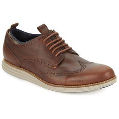 Cole Haan Original Grand Leather Oxfords ($120) ❤ liked on Polyvore featuring men's fashion, men's shoes, men's oxfords, mens wing tip shoes, mens platform shoes, mens wingtip shoes, mens brown shoes and mens brown wingtip shoes