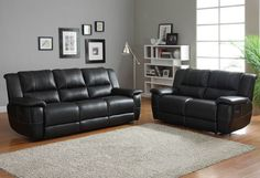 Cantrell Collection Double Reclining Sofa 9778BLK-3Your casual living room deserves a bold look and the Cantrell Collection will deliver. The black bonded leather match seating group features contrast stitching and manual pull reclining mechanism. Plush seating ensures comfort of your family and friends, as do the dual reclining seats of the love seat, end recliners of the sofa and chair. Features:Cantrell CollectionContemporary StyleTransitional StyleBlack ColorBonded Leather Match…