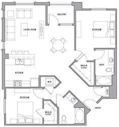 2 Bed / 2 Bath Apartment in Northridge CA Mini House Plans, Round House Plans, Small House Plans, House Floor Plans, Home Room Design, Small House Design, Interior Design Living Room, Apartment Floor Plans, Studio Apartment Decorating